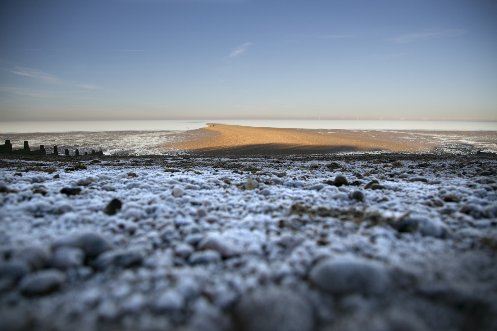 Frosty beach in Whitstable Kent